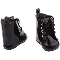 Fenteer 2足 18インチ アメリカガール人形の靴 女の子 PUレザー ブーツ アクセサリー プレゼント