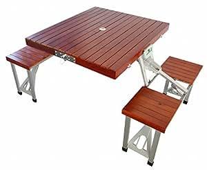 キャプテンスタッグ テーブル NEWブランチ 杉製ピクニックテーブル ブラウン UC-6