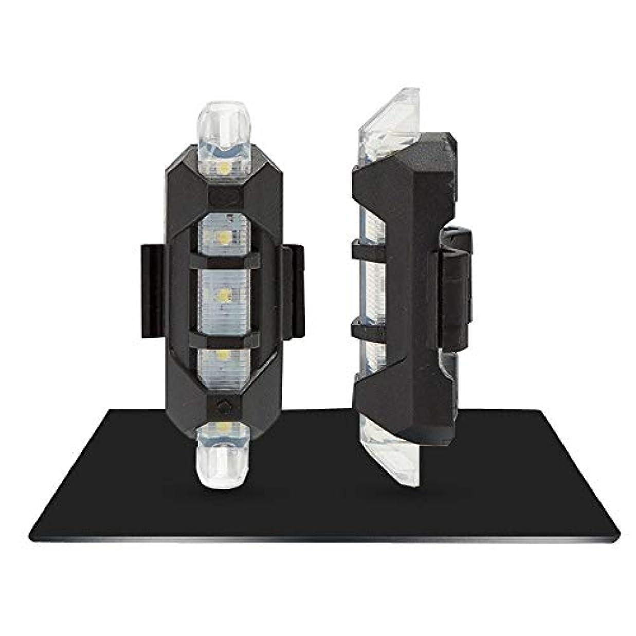 関数蜜ゲートウェイUSB充電式自転車ライト USB充電式自転車ライトフロントおよびテールセット5 LED 3モードヘッドバックバイク点滅安全警告ランプ(1 PC) (Color : WHITE)