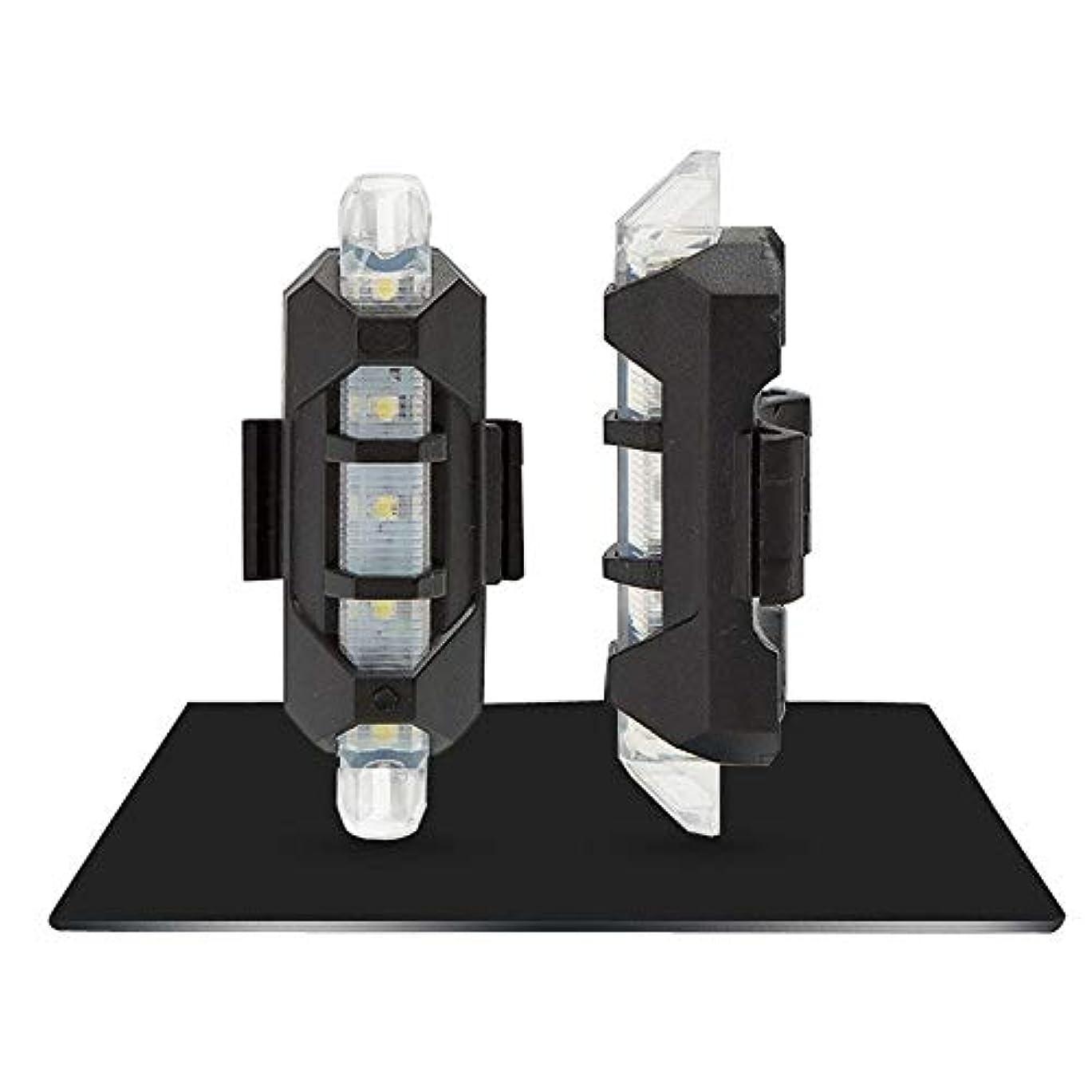 恥ずかしさ筋人工USB充電式自転車ライト USB充電式自転車ライトフロントおよびテールセット5 LED 3モードヘッドバックバイク点滅安全警告ランプ(1 PC) (Color : WHITE)