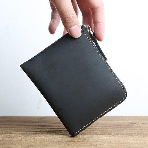 ONSTRO 財布 メンズ 本革 L字 ファスナー クレイジーホース レザー 小銭入れ カード収納 コンパクト ブラック