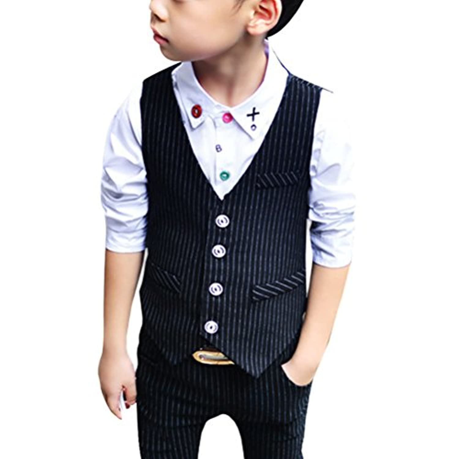 Zhhlaixing Boys 2 Piece Cotton Suit Waistcoat Trousers Wedding Suit Page Boy Party Prom Formal Age 5-16 Years