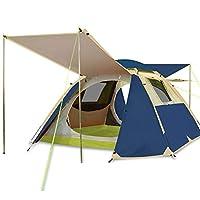 キャンプテント、アウトドアライフテントアウトドア3-4人自動ダブルキャンプ雨テント,Seablue