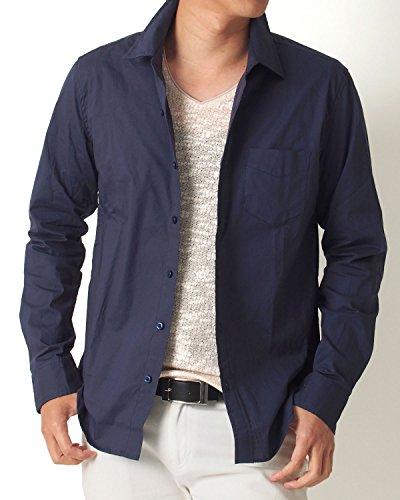 (トップイズム) TopIsm 長袖 シャツ メンズ ブロード 無地 ストレッチ カジュアル 白 黒 グレー シャツ ドレスシャツ M 6-ネイビー