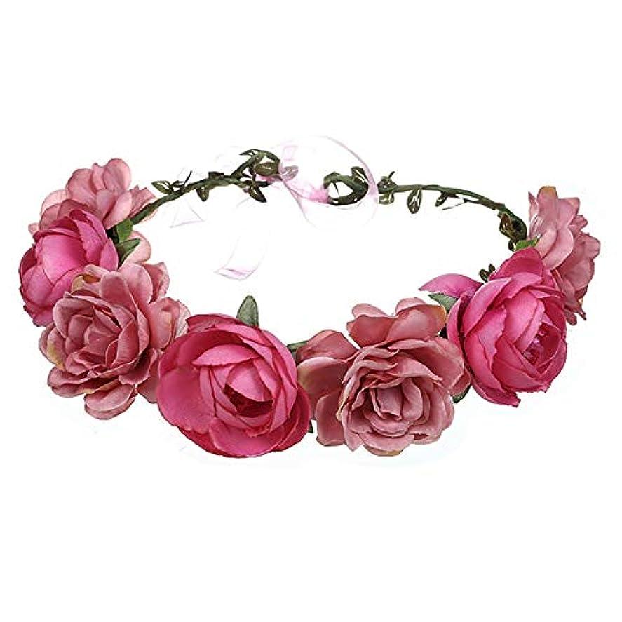 凝視揮発性キノコ調節可能なヘッドバンドブライダル結婚式のヘアアクセサリーのつるボヘミア、2ローズフラワークラウン休暇の花のヘッドバンドの女の子(ピンクと赤)