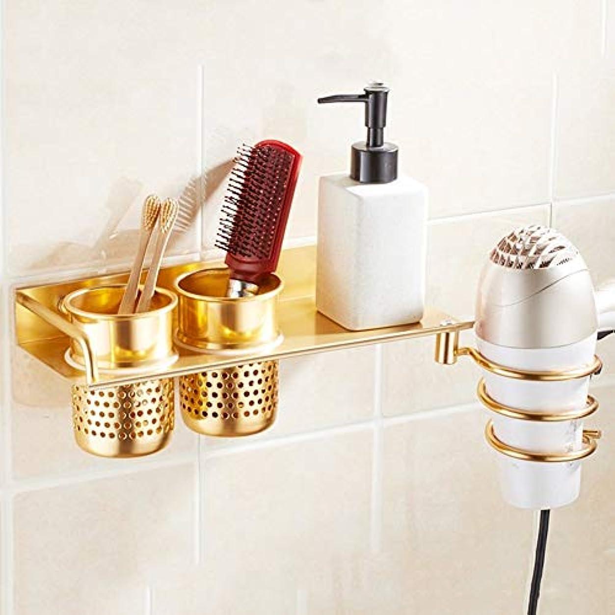 露きょうだいあいさつ浴室用棚洗面所シャワー壁掛けコーナーヘアドライヤーダクトラックサクションウォールアルミ ステンレス多機能ラック (色 : Gold)