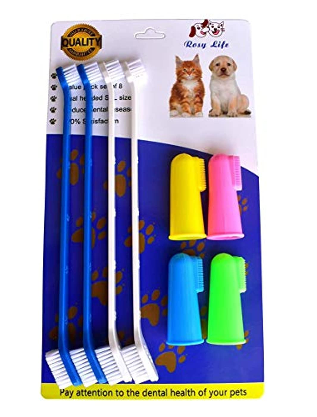 勝利した禁止する消費者RosyLife 大型犬 小さなペット 犬柔らかい歯ブラシ犬用歯ブラシ指歯ブラシ ペット 歯ブラシ 4中性サイズ+ 4頭歯ブラシ