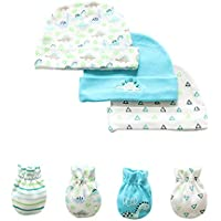 7 Piece Scratch Mittens and Caps Set Infant Newborn Gift Set For Baby Boys & Girls, 0-6 Months