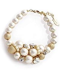 [メイグローブヴェール] パール ボリューム ブレスレット (コットンパール×ビジュー) [結婚式 二次会 ドレス] 真珠