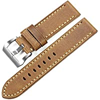 iStrap 20mm 22mm 24mm 26mm Watch Band Vintage Calf Leather Strap Padded Asso Strap Brushed Steel Buckle