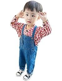GuDeKe 子ども用 女の子 デニムサロペット 男の子 オーバーオール ロングパンツ キッズ ズボンつり 男女兼用 ジーンズ オールインワン カジュアル 可愛い 通園