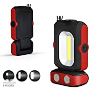 ワークライト COB LED 作業灯 双光源 マグネット付き 180°回転 3点灯モード 夜間作業 旅行緊急対応 キャンプ 夜釣り アウトドア (バッテリ)