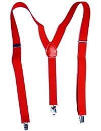 (ラボーグ)La Vogue サスペンダー ベルト ソリッド 無地 男女兼用 ビジネス アイテム ズボン吊り Y型 クリップ タイプ (9赤い)