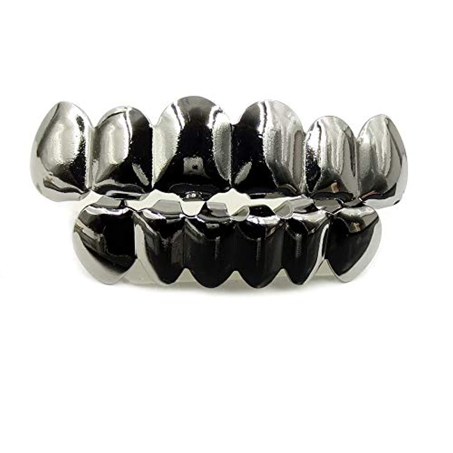 調査寓話爆風ヨーロッパ系アメリカ人INS最もホットなヒップホップの歯キャップ、ゴールド&ブラック&シルバー歯ブレースゴールドプレート口の歯 (Color : Black)