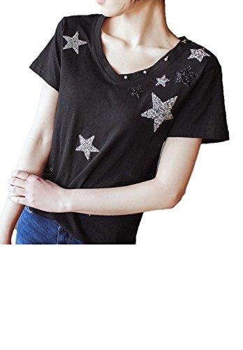 Tシャツ レディース トップス 半袖 Vネック ほし スター ラメ ビジュー カットソー シャツ 星 黒 K11497 (M)