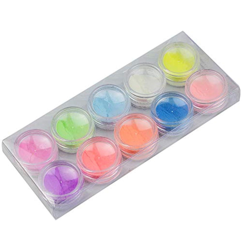 インシデントきしむ単位10Pcs/set Luminous Nail Powder UV Gel Polish Glow In The Dark Glitter Fluorescent Nail Tip Decoration Salon Nail...
