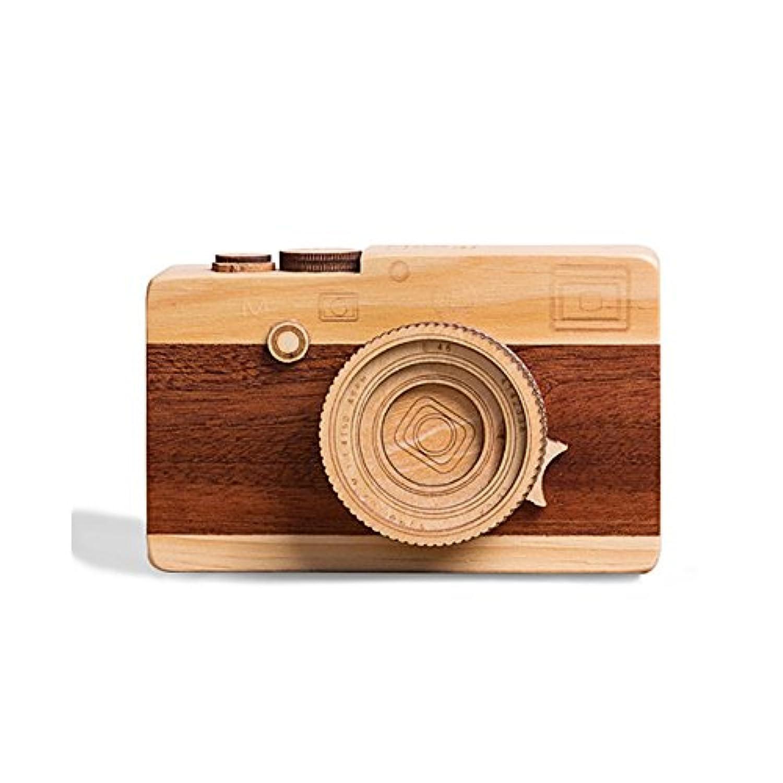 futureplusxクリエイティブ木製音楽ボックス、レトロカメラデザイン木製ギフト音楽ボックス男の子女の子ホーム装飾