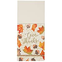 Gold Fall Leaves Thanksgiving Silverware Wraps, 8ct