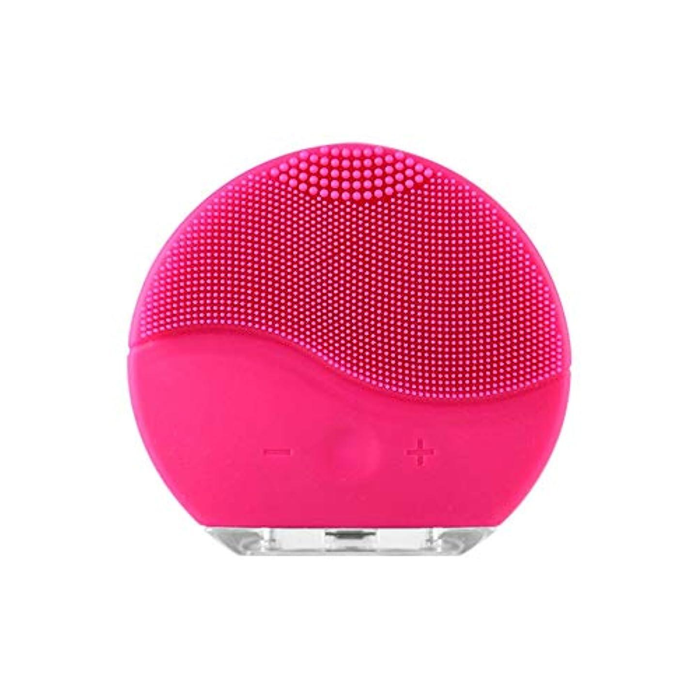 星噴出するネックレスZXF 新しい家庭用電化製品洗浄器具USB充電シリコーン電気美容器具洗浄ブラシピンク赤 滑らかである (色 : Red)