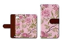 GALAXY Note II SC-02E対応 手帳型ケース カメラ穴搭載 ダイアリー スマホカバー レザー製 花柄 【ピンク】