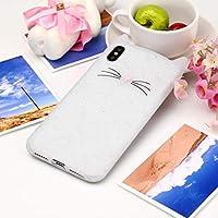 ケース・カバー iPhone XSマックスファッションのための猫のひげパターンシリコン保護ケース 自宅の電話ケース (色 : 白)