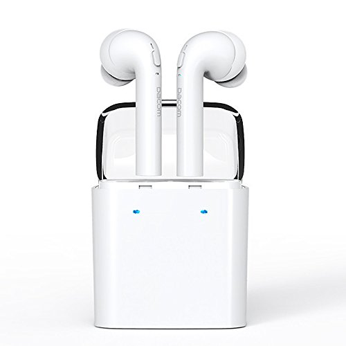 OKCSC GF7 Bluetooth イヤホン ワイヤレス ブルートゥース カナル型 ミニ スポーツ ヘッドセット ヘッドフォン Hifi 高音質 両耳 iPhone7に対応 ノイズキャンセル対応 マイク付き V4.2 ホワイト