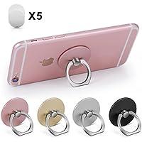 【4個入り】Amoner スマホ ホールドリング 薄型 落下防止 360度回転 スタンド機能 iPhone Android多機種対応 (ブラック+シルバー+ゴルード+ピンク)
