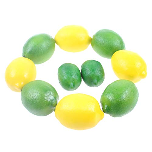 Liqidecor10こ ようなシミュレーション ホーム段階偽 フルーツボウル台所 テーブル ホームデコレーションFotoguraとして模造生きレモン偽 フルーツ家庭 キッチンキャビネット 装飾 など 作品黄色と緑 人工生活