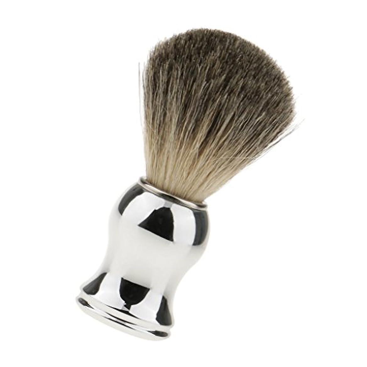 の前でファーザーファージュきゅうりシェービング用ブラシ 人工毛 メンズ 理容 洗顔 髭剃り 泡立ち 11.2cm 全2色 - シルバーハンドル