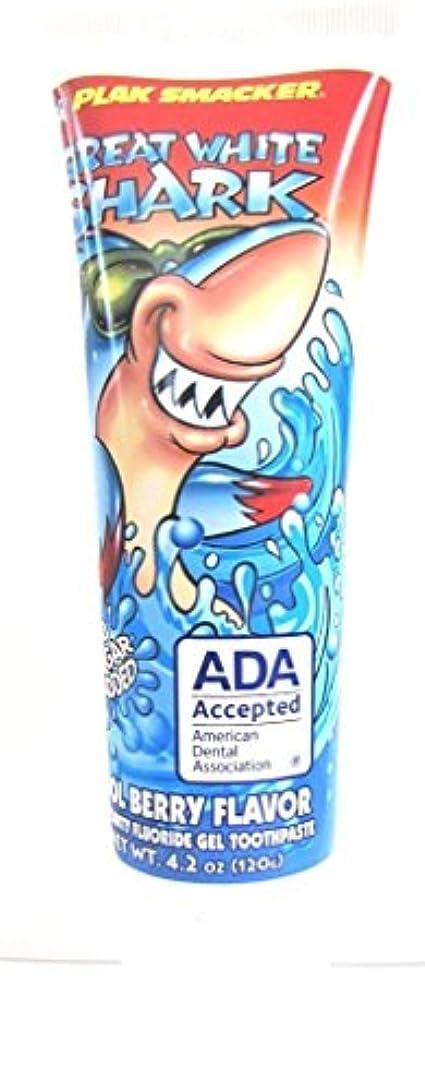 タンパク質エントリ誠実Great White Shark Cool Berry Flavor Toothpaste 4.2oz by Plak Smacker
