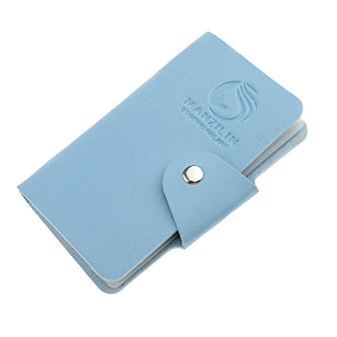 パドル球状姿勢オーガナイザーケース バッグ プレートスタンパーバッグ 24スロット ネイルアート ホルダー 収納 5色選べ - 青, 説明したように
