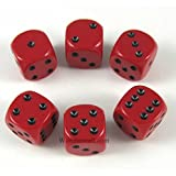 Red Opaque Dice Black Pips D6 16mm Pack of 6 Wondertrail WCX25614E6