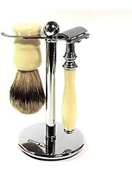 髭剃りシェービングセット アイボリー 両刃ホルダー クロム アナグマ毛ブラシ スタンド付 ドイツ?ディトマー社
