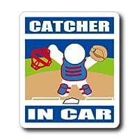 わーるどくらふと CATCHER IN CAR 【マグネット】 (あお) 野球・ソフトボール キャッチャー・捕手が車に乗ってます