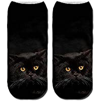 Unisex Fashion Cute Animal Cat 3D Printed Soft Casual Ankle Socks, Funny Novelty Cotton Socks for Running,Hiking, Athletics Sports