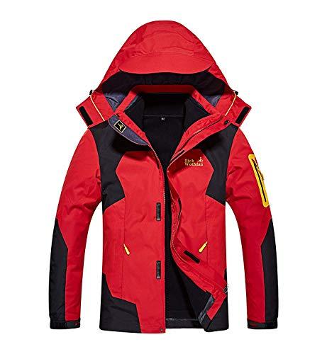 メンズ アウトドア ジャケット 裏フリース 3in1 コート 防水防風 アノラック ウンテンジャケット スキーウェア 登山服 红 L