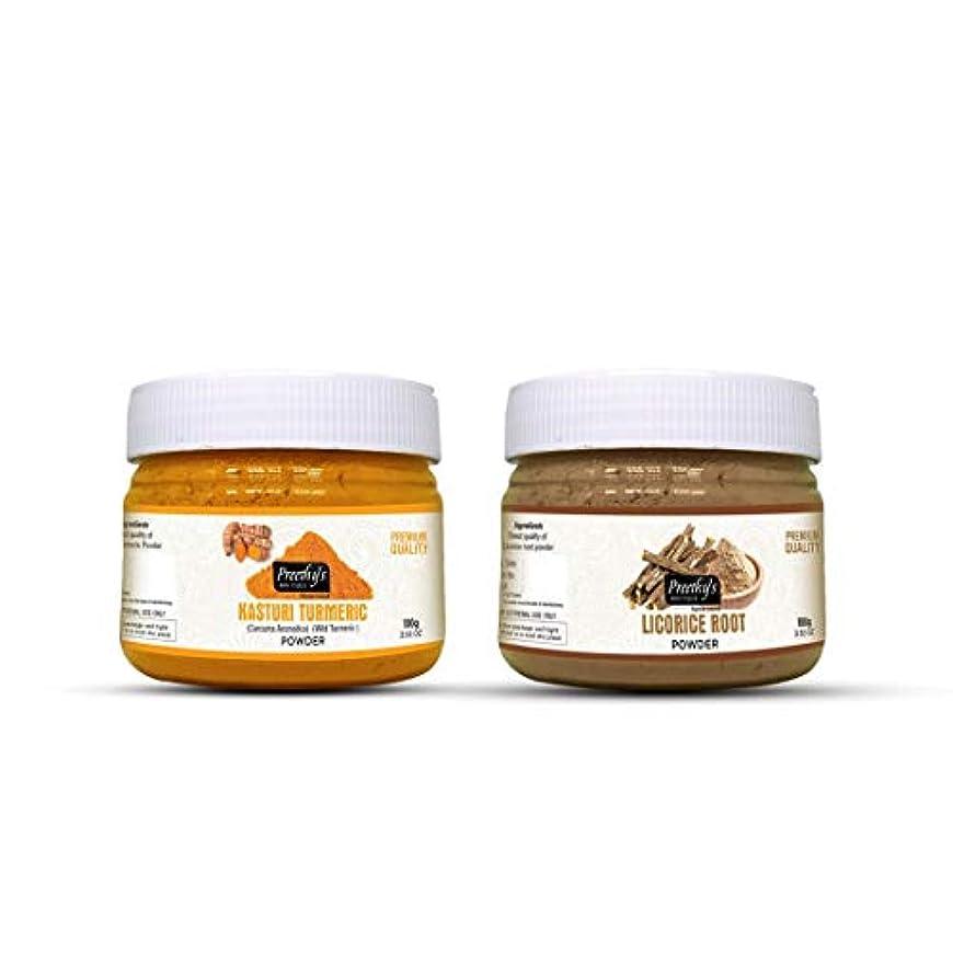 ピック旅行りCombo Offer of Kasturi turmeric powder 100gm+ Licorice root powder 100gm - Fade Dark Spots, Natural Sun Protection, Natural Remedies for Skin Disorders