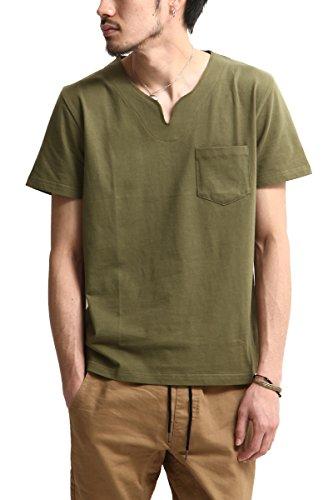 (641960br) キーネック半袖Tシャツ (7-OLIVE M)