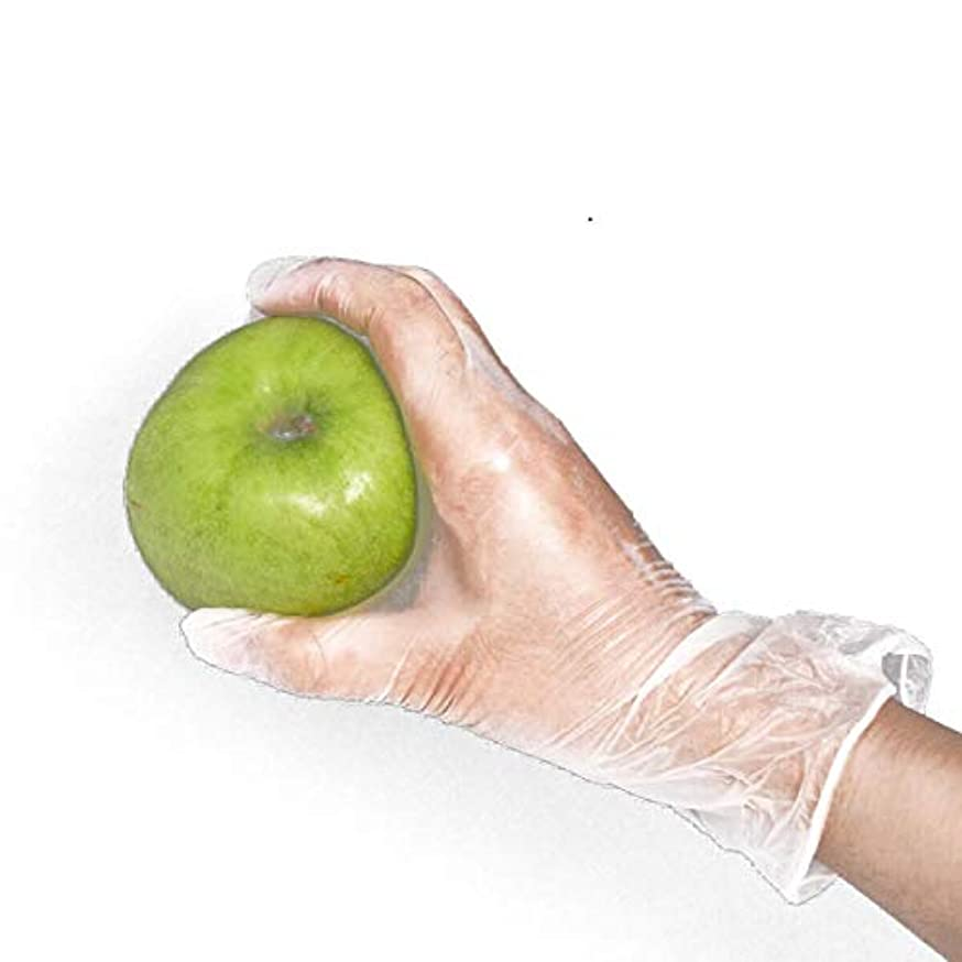 相反する精神特異性[FJTK]使い捨て手袋 透明 100枚入 ホワイト  医療 美容 科学実験 (M)