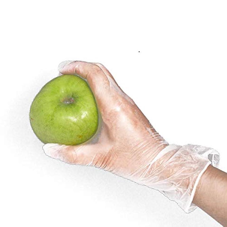 ネコ長くするドナウ川[FJTK]使い捨て手袋 透明 100枚入 ホワイト  医療 美容 科学実験 (L)