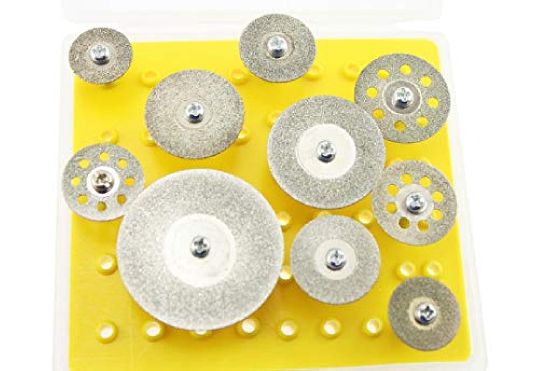 Olive-G 3mm軸 ダイヤモンド ソー ブレード 10個セット 収納ケース付き ミニルーター 研磨 削り DIY