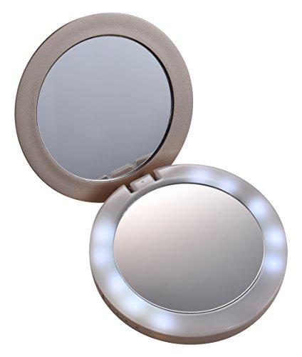 デバイスネット「女優ミラーモバイルバッテリー 3000(DN-MBJM3000G)」 モバイルバッテリーにミラーがついて1台2役 ミラーの周りにLEDライトがついて暗いところでもよく見える