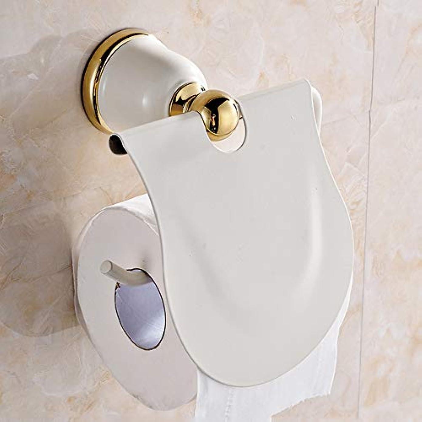 クラフトジャンク無駄だZZLX 紙タオルホルダー、ヨーロピアンパストラルライスホワイトペイントロールカートントイレットペーパーホルダーゴールドアンティークティッシュボックスバスルームペンダント ロングハンドル風呂ブラシ (色 : ゴールド)