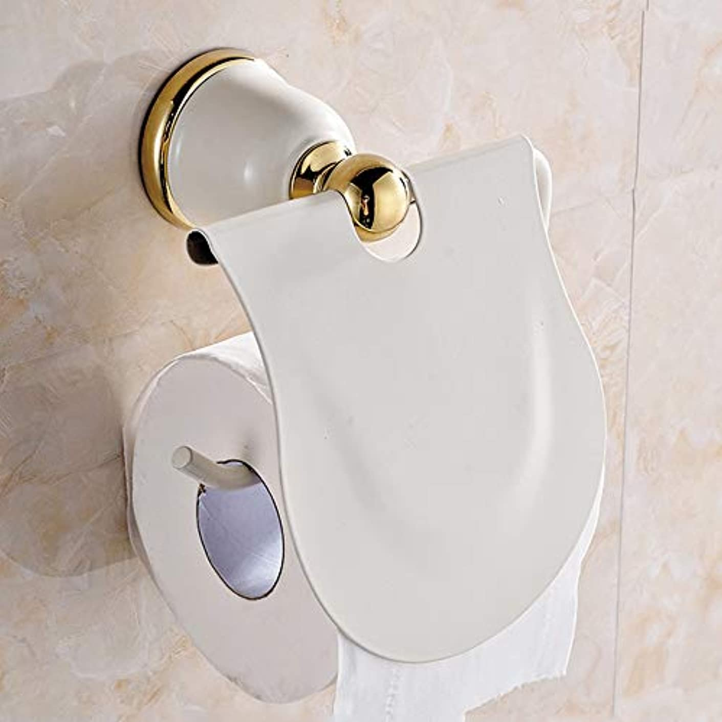 解説開始湿ったZZLX 紙タオルホルダー、ヨーロピアンパストラルライスホワイトペイントロールカートントイレットペーパーホルダーゴールドアンティークティッシュボックスバスルームペンダント ロングハンドル風呂ブラシ (色 : ゴールド)