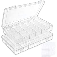 Outuxed Grids Clear Plastic Organizer Box Storage Container Jewelry Box with Adjustable Dividers for Beads, Jewelry, Letters, Fishing Tackle, Screws & Small Accessories B-clear-36 Grids
