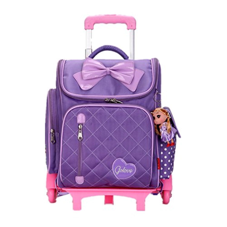 キャリーキッズパック キャリーケース スーツケース 子供リュック バービー人形付け 蝶結び ピンク/パープル/レッド