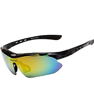 HIGASHI スポーツサングラス 国内正規品 偏光レンズ 国内検査済 UV400 紫外線99%カット レンズ5枚 9カラー フルセット ケース付 軽量 プレゼント ゴルフ 釣り ランニング 野球 登山 アウトレット 海 HSG01-5(ブラック)