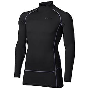 [テスラ]高機能メッシュ 長袖 ハイネック スポーツシャツ [UVカット・吸汗速乾] コンプレッションウェア メンズ V-MUT72-BKH(ブラツク/チャコール) 日本 M (日本サイズM相当)