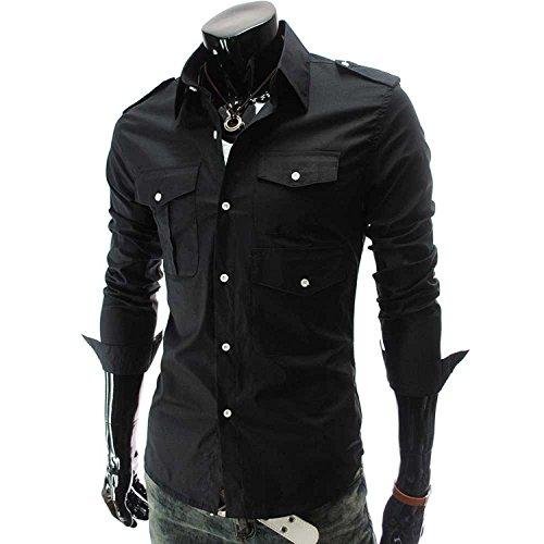 【 スマイズ スマイル 】 Smaids×Smile カジュアル ファッション シンプル メンズ シャツ 長袖 タイト Yシャツ 無地 トップス おしゃれ 襟付き (ブラック M)