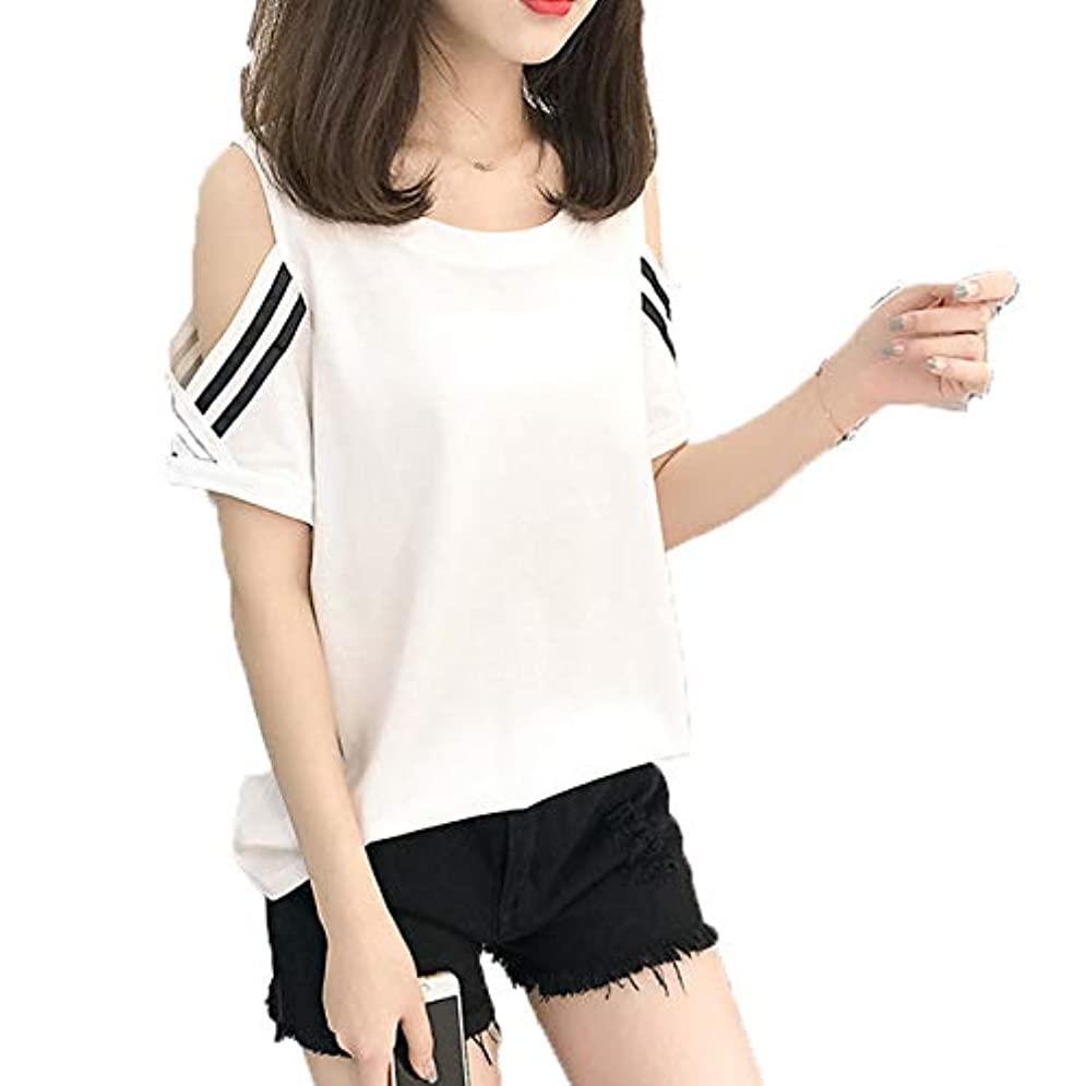 筋コカインいろいろ[ココチエ] Tシャツ ライン プルオーバー レディース 肩出し 半袖 かっこいい かわいい おしゃれ レッド イエロー ホワイト